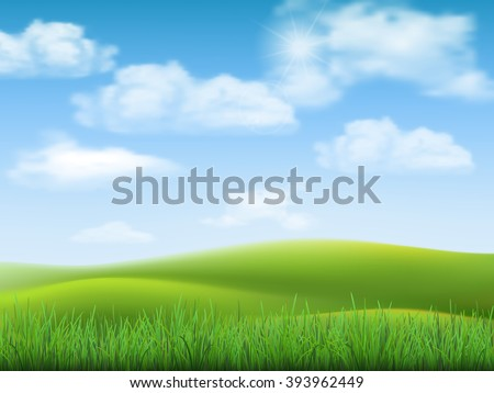 Nature landscape with sky, hills and grass on foreground. - stock vector