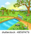 nature landscape with water spring - stock vector