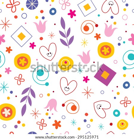 nature love happiness fun cartoon seamless pattern - stock vector