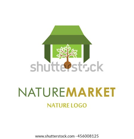 nature market, abstract vector logo design template icon of company identity symbol concept for health therapy service, pharmacy, hospital, medical clinic or any natural health care business