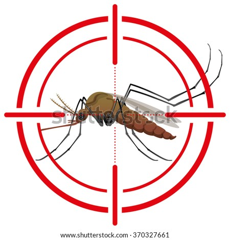 Nature, mosquitoes with stilt target. sights signal. Ideal for informational and institutional related sanitation and care - stock vector