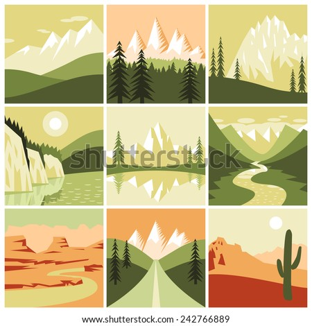 Nature mountain landscapes tourism decorative icons set isolated vector illustration - stock vector
