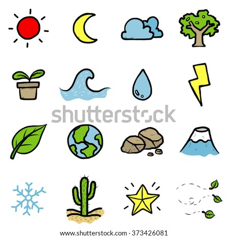 nature objects or icons set/ cartoon vector and illustration, hand drawn style, isolated on white background. - stock vector
