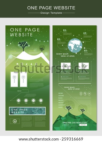nature one page website design template with glitter polygon element - stock vector