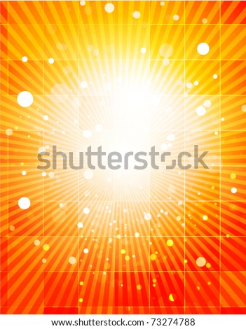 Nature orange light background and glass rectangles. Vector illustration - stock vector