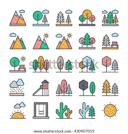 Nature, Park, Plants, Trees Vector Icons 1 - stock vector