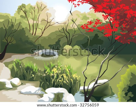 Nature park scenery in spring, small bridge on the pond, China, photo-realistic vector illustration - stock vector