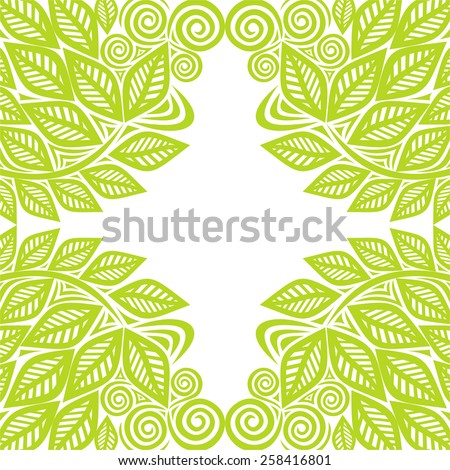 Nature pattern frame green leaves vector illustration - stock vector