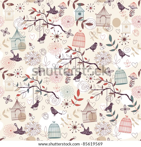 Nature Pattern with birds, birdcages, plants, flowers. Vector. - stock vector