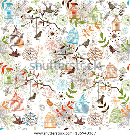 Nature Pattern with birds. seamless.