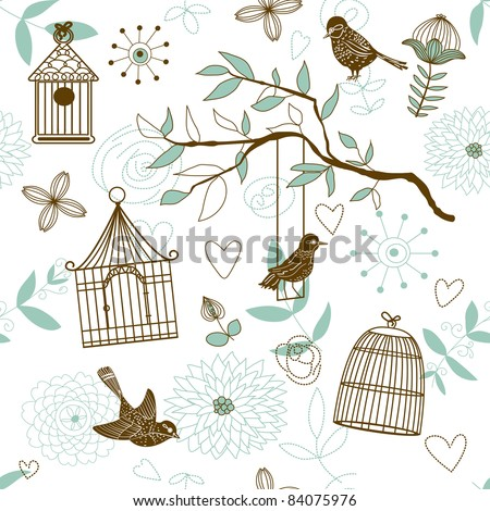 Nature Pattern with birds. Vector seamless. - stock vector