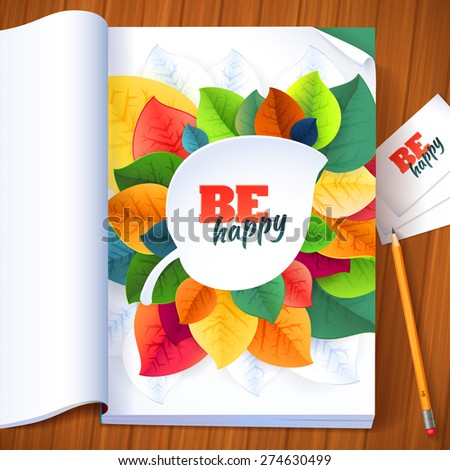 Nature rainbow leaves concept magazine page. Vector leaves abstract background with pencil and business cards. File  includes layer with clipping mask shape. - stock vector