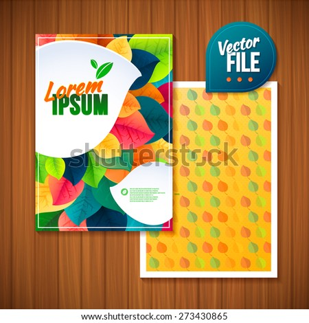 Nature rainbow summer spring leaves flyer. Vector leaves abstract background.Vector template 2-sided Card - stock vector
