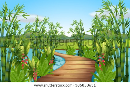 Nature scene with bamboos along the bridge illustration - stock vector