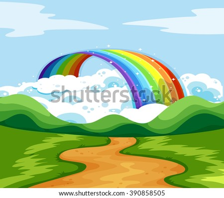 Nature scene with rainbow at the end of the road illustration