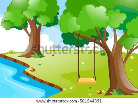 Nature scene with river and trees illustration