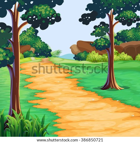 Nature scene with tree along the trail illustration - stock vector