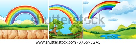 Nature scenes with rainbow illustration