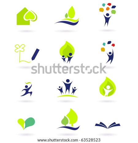 Nature, school and education icons. Vector illustrations abstract icons: nature, people and education set. - stock vector