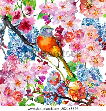 Nature seamless texture. vector. Spring seamless floral pattern with bird. - stock vector