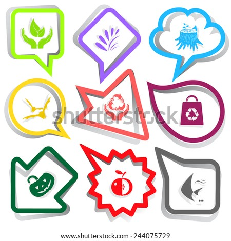 Nature set. Paper stickers. Vector illustration. - stock vector