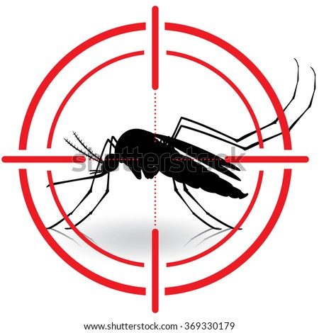 Nature, silhouette mosquitoes with stilt target. sights signal. Ideal for informational and institutional related sanitation and care - stock vector