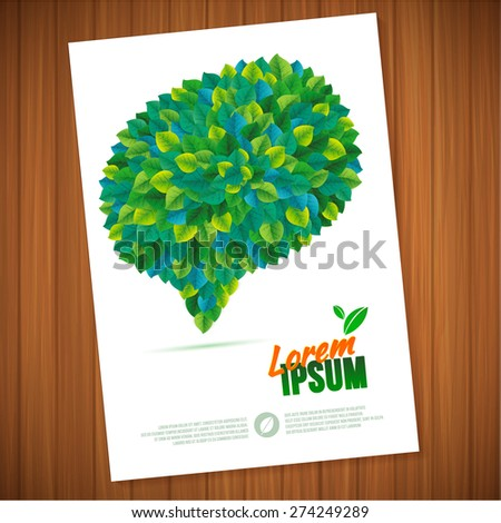 Nature  summer green speech bubble leaves communication concept card.   Vector leaves abstract background flyer template. - stock vector
