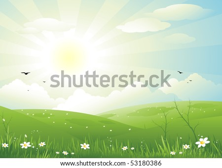 Nature sun day background - stock vector
