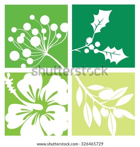 Nature symbols, flowers - stock vector