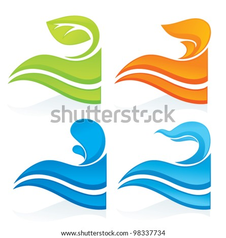 nature symbols, vector decorative elements