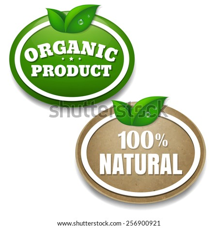 Nature Tags With Gradient Mesh, Vector Illustration - stock vector