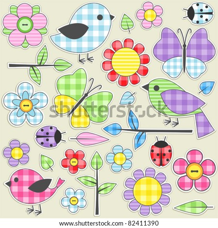 Nature textile stickers. Set 1 of 3. - stock vector