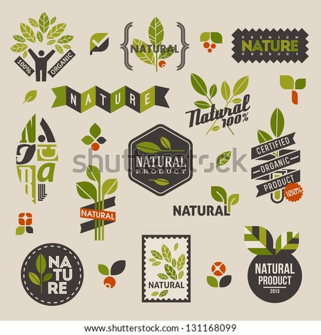 Nature-themed labels and badges with green leaves �¢?? set of vector design elements - stock vector