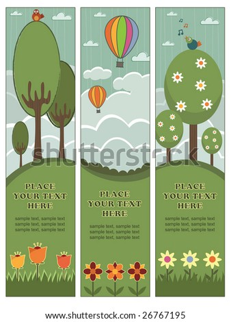 nature themed vertical banners with copy space