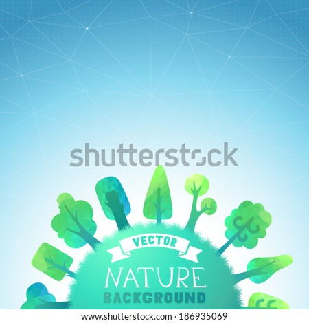 Nature vector background. Vector geometric trees and grass silhouettes. There is place for your text on the Earth and in the sky. - stock vector