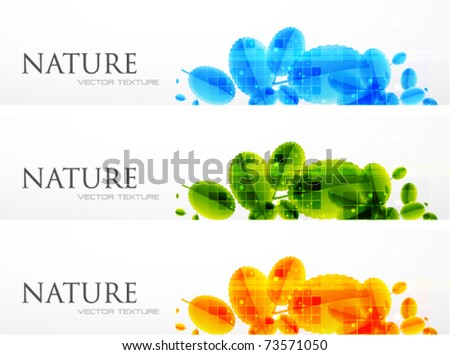 Nature vector banners. Abstract leaves. Summer design - stock vector