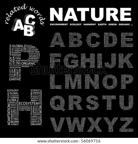 NATURE. Vector letter collection. Illustration with different association terms.