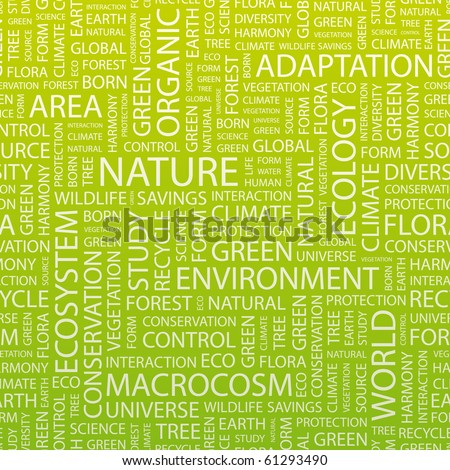 NATURE. Vector pattern with word cloud. Illustration with different association terms.