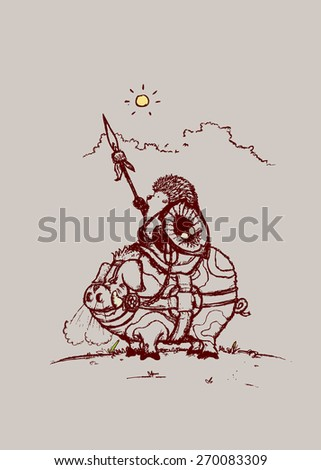 Nature Warriors: Battle Hedgehog hedgehog warrior and battle pig. pencil drawing illustration - stock vector