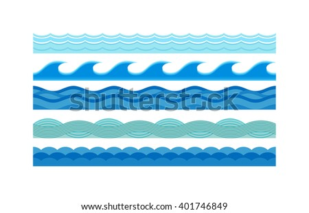 Nature waves and sea horizontally waves. Waves design pattern nature decoration, creative wet blue waves set. Sea waves pattern set horizontally ocean abstract element nature flat vector illustration. - stock vector
