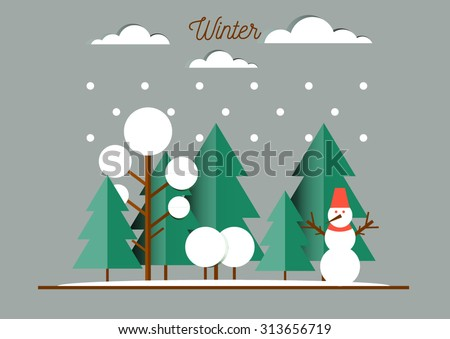 Nature, winter landscape with Christmas trees, snowmen, snow drifts. Happy New Year card - stock vector