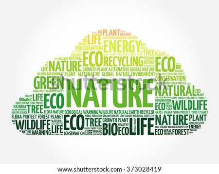 Nature word cloud, conceptual green ecology background - stock vector