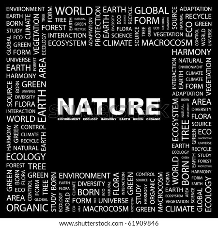 NATURE. Word collage on black background. Illustration with different association terms. - stock vector