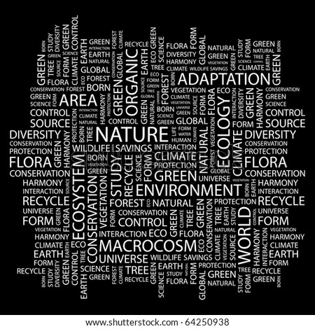 NATURE. Word collage on black background. Illustration with different association terms.