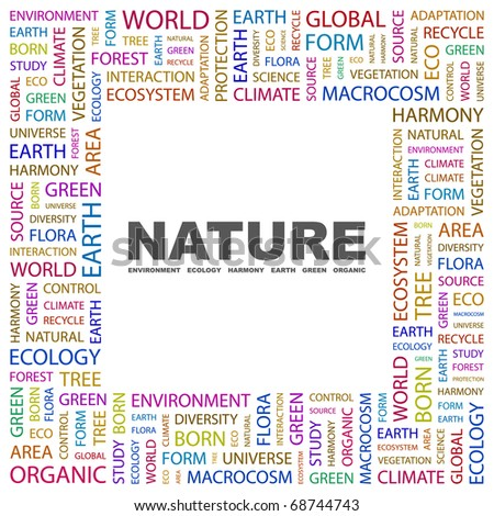 NATURE. Word collage on white background. Illustration with different association terms. - stock vector