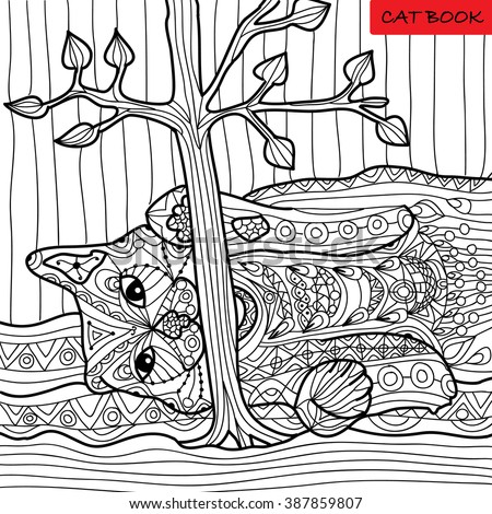 Naughty Cat Coloring Book Adults Zentangle Stock Vector 387859807