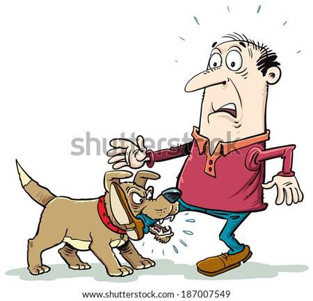 naughty dog biting foot - stock vector