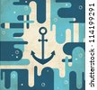 Nautical anchor - vintage design - stock photo