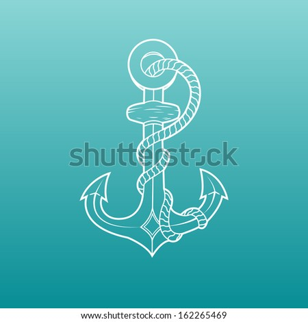 Nautical anchor with rope isolated on green background. White outlines. Vector Illustration - stock vector