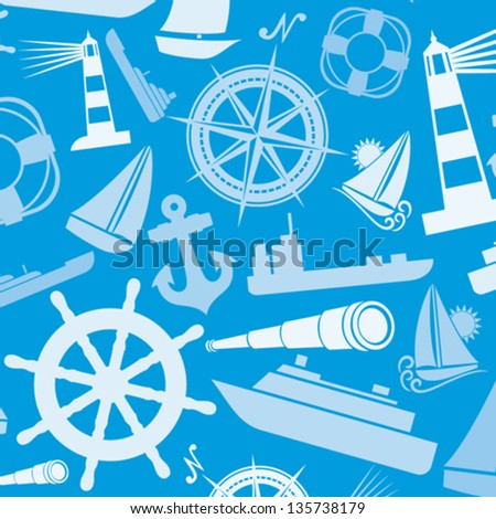 nautical and marine icons seamless background (marine icons pattern abstract seamless texture, seamless nautical icons pattern) - stock vector